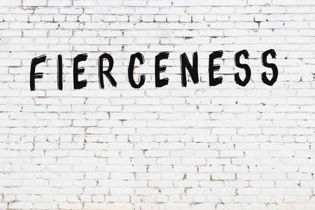Inscription fierceness written with black paint on white brick wall.
