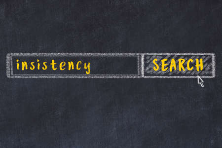 Concept of looking for insistency. Chalk drawing of search engine and inscription on wooden chalkboard