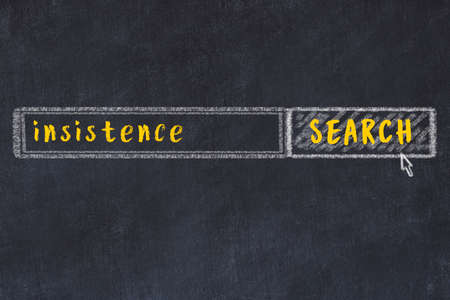 Drawing of search engine on black chalkboard. Concept of looking for insistence Stock fotó