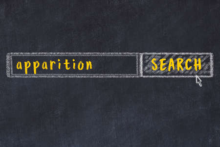 Drawing of search engine on black chalkboard. Concept of looking for apparition