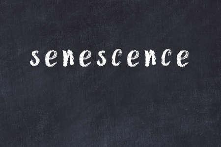 College chalkboard with with handwritten inscription senescence on it 版權商用圖片
