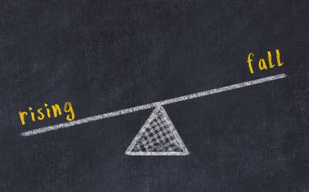 Balance between rising and fall. Chalkboard drawing on black chalkboard Stock fotó