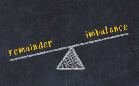 Balance between remainder and imbalance. Chalkboard drawing on black chalkboard Stock fotó