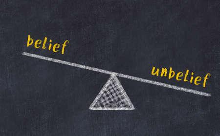 Balance between belief and unbelief. Chalkboard drawing on black chalkboard