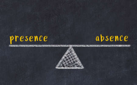 Chalk drawing of scales with words presence and absence on black board. Concept of balance