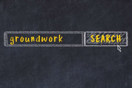 Drawing of search engine on black chalkboard. Concept of looking for groundwork