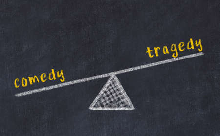 Concept of balance between comedy and tragedy. Black chalboard with sketch of scales and words on it