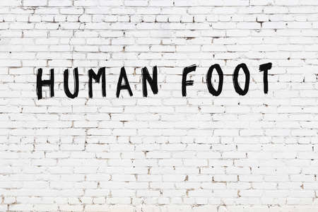 Inscription human foot written with black paint on white brick wall.