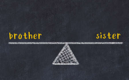 Concept of balance between brother and sister. Black chalboard with sketch of scales and words on it