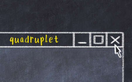Chalk sketch of closing browser window with page header inscription quadruplet