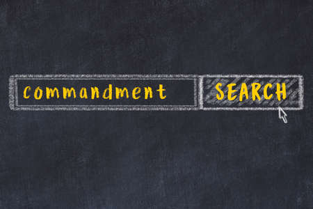 Drawing of search engine on black chalkboard. Concept of looking for commandment