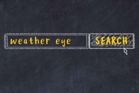 Concept of looking for weather eye. Chalk drawing of search engine and inscription on wooden chalkboard