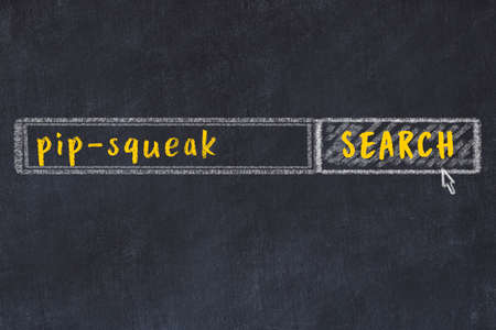 Concept of looking for pip-squeak. Chalk drawing of search engine and inscription on wooden chalkboard