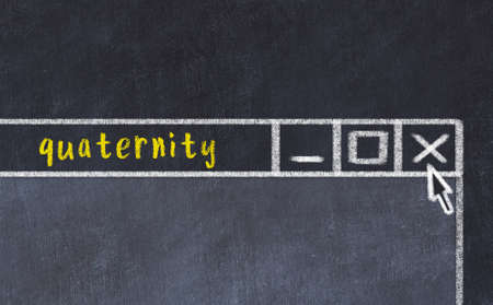 Chalk sketch of closing browser window with page header inscription quaternity Stock Photo