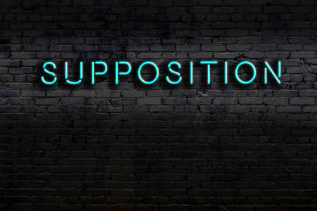 Neon sign on brick wall at night. Inscription supposition