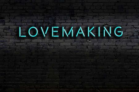 Neon sign on brick wall at night. Inscription lovemaking