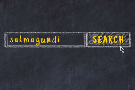 Concept of looking for salmagundi. Chalk drawing of search engine and inscription on wooden chalkboard