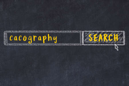 Drawing of search engine on black chalkboard. Concept of looking for cacography