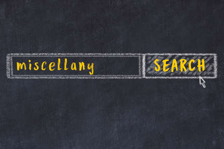 Concept of looking for miscellany. Chalk drawing of search engine and inscription on wooden chalkboard