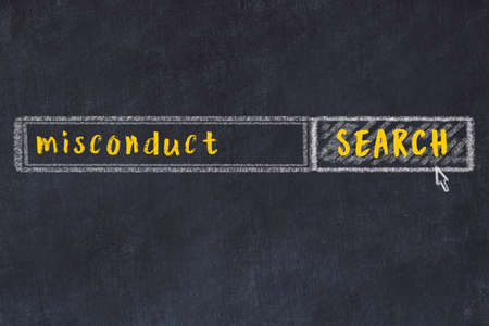 Drawing of search engine on black chalkboard. Concept of looking for misconduct Stock Photo