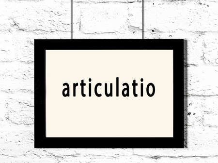 Black wooden frame with inscription articulatio hanging on white brick wall