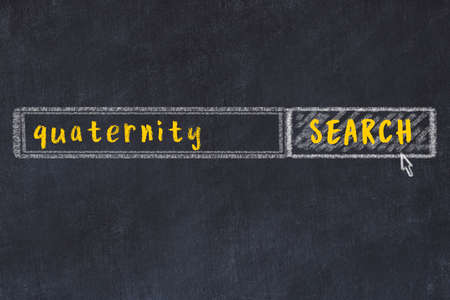 Concept of looking for quaternity. Chalk drawing of search engine and inscription on wooden chalkboard