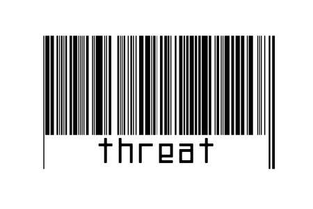 Digitalization concept. Barcode of black horizontal lines with inscription threat below.