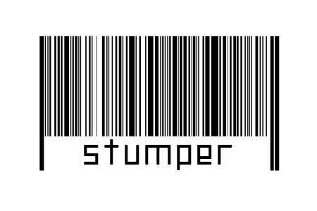 Digitalization concept. Barcode of black horizontal lines with inscription stumper below. Standard-Bild
