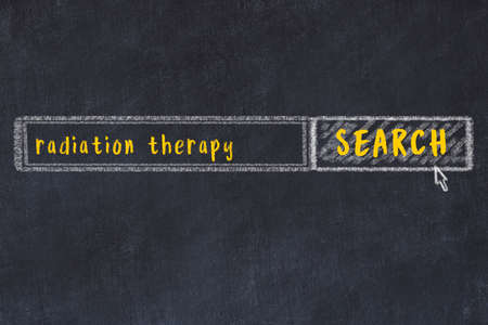 Drawing of search engine on black chalkboard. Concept of looking for radiation therapy