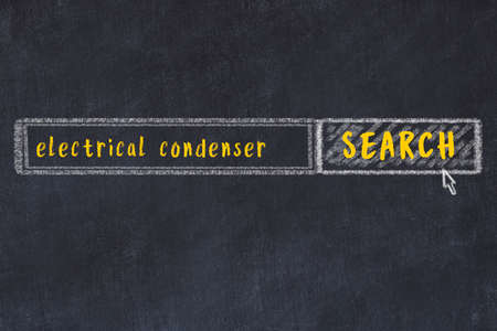 Concept of searching electrical condenser. Chalk drawing of browser window and inscription