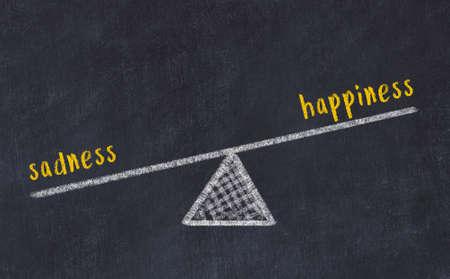 Balance between sadness and happiness. Chalkboard drawing on black chalkboard