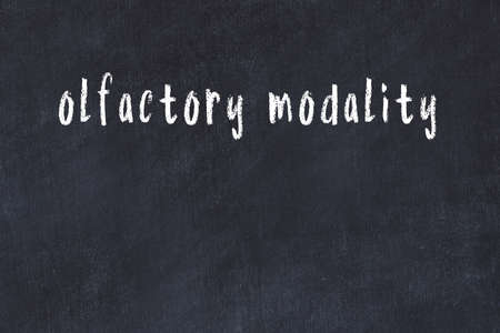 Chalk handwritten inscription olfactory modality on black desk