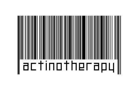 Barcode on white background with inscription actinotherapy below. Concept of trading and globalization