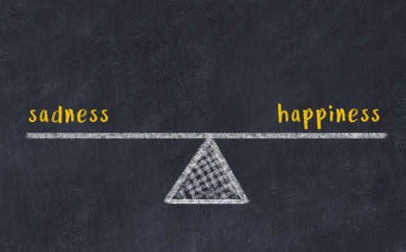 Chalk drawing of scales with words sadness and happiness on black board. Concept of balance Foto de archivo