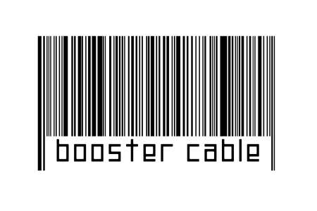 Digitalization concept. Barcode of black horizontal lines with inscription booster cable below.
