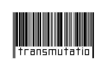 Digitalization concept. Barcode of black horizontal lines with inscription transmutation below.