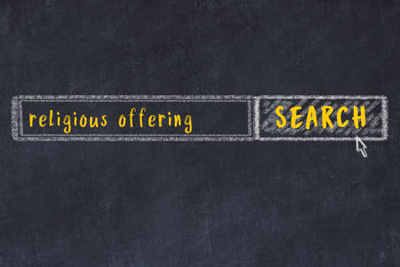 Concept of searching religious offering. Chalk drawing of browser window and inscription 스톡 콘텐츠 - 168019966