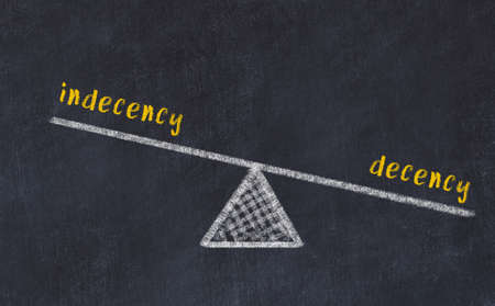 Concept of balance between indecency and decency. Black chalboard with sketch of scales and words on it