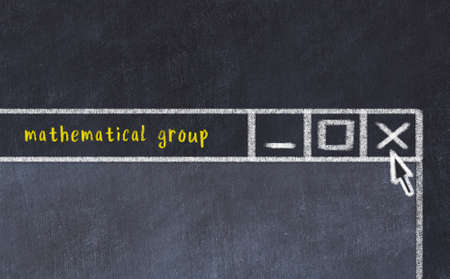 Closing browser window with caption mathematical group. Chalk drawing. Concept of dealing with trouble 스톡 콘텐츠