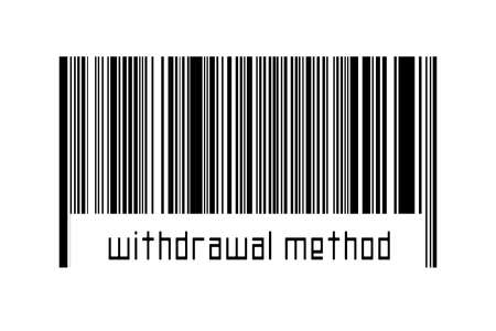 Digitalization concept. Barcode of black horizontal lines with inscription withdrawal method below. 스톡 콘텐츠 - 168020078