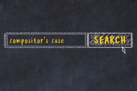 Drawing of search engine on black chalkboard. Concept of looking for compositor's case