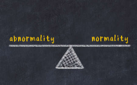 Chalk drawing of scales with words abnormality and normality on black board. Concept of balance