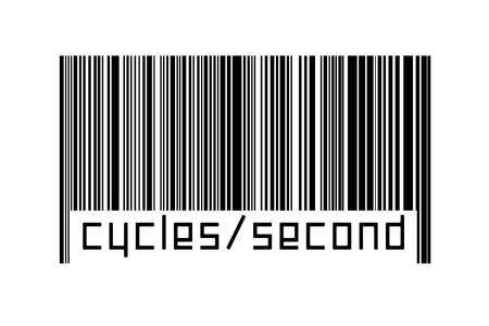 Barcode on white background with inscription cycles / second below. Concept of trading and globalization