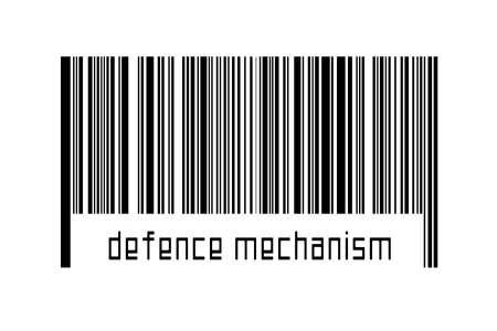 Digitalization concept. Barcode of black horizontal lines with inscription defense mechanism below.