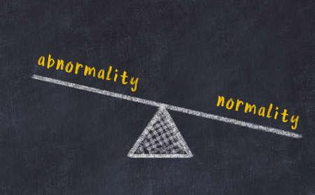 Balance between abnormality and normality. Chalkboard drawing on black chalkboard 版權商用圖片
