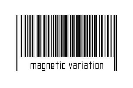 Barcode on white background with inscription magnetic variation below. Concept of trading and globalization 版權商用圖片