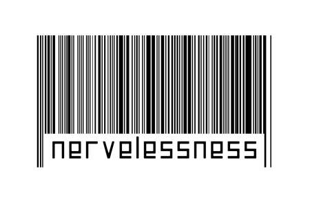 Barcode on white background with inscription nervelessness below. Concept of trading and globalization 版權商用圖片