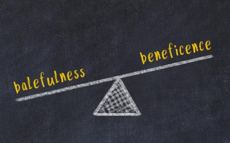 Balance between balefulness and beneficence. Chalkboard drawing on black chalkboard