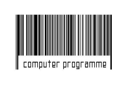 Digitalization concept. Barcode of black horizontal lines with inscription computer program below. 版權商用圖片 - 168020177