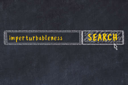 Drawing of search engine on black chalkboard. Concept of looking for imperturbableness